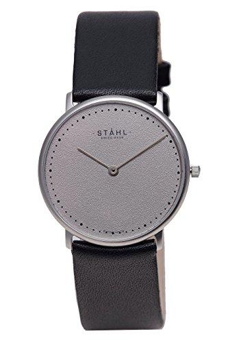 Stahl Swiss Made Armbanduhr Modell st61368 Edelstahl Extra grosse 36 mm Fall 60 DOT grau Zifferblatt