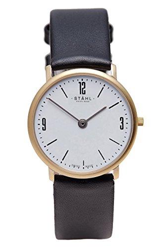 Stahl Swiss Made Armbanduhr Modell st61119 vergoldet klein 27 mm Fall Arabisch und Bar weiss Zifferblatt