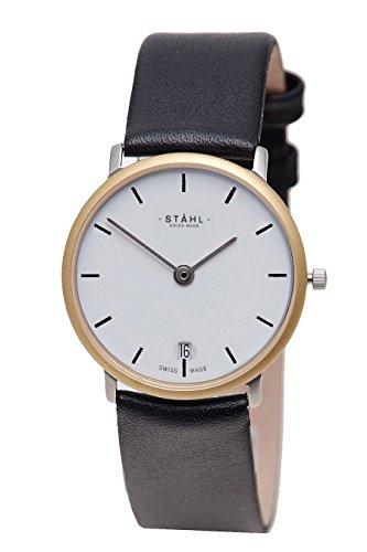 Stahl Swiss Made Armbanduhr Modell st61277 vergoldet Extra Gross 36 mm Fall Bar weiss Zifferblatt