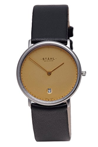 Stahl Swiss Made Armbanduhr Modell st61473 Edelstahl Extra grosse 36 mm Fall 60 DOT Gold Zifferblatt