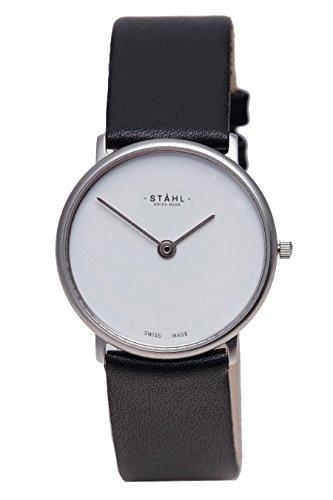 Stahl Swiss Made Armbanduhr Modell st61315 Edelstahl Klein 27 mm Fall Uni Weiss Zifferblatt