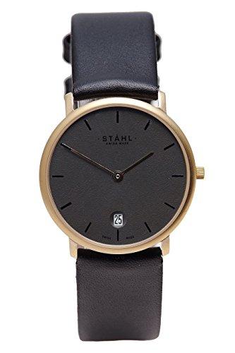 Stahl Swiss Made Armbanduhr Modell st61262 vergoldet Extra Gross 36 mm Fall Bar Silber Zifferblatt