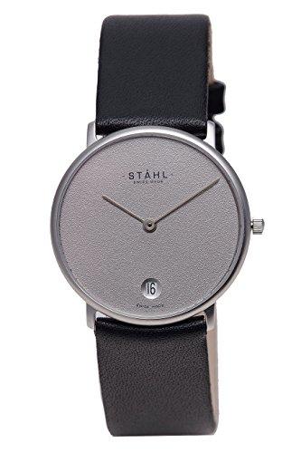 Stahl Swiss Made Armbanduhr Modell st61425 Edelstahl mittlere 30 mm Fall Uni Grau Zifferblatt