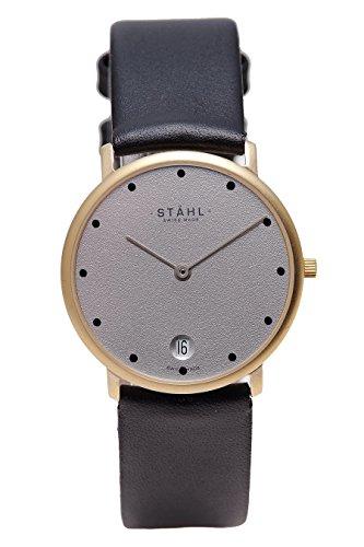 Stahl Swiss Made Armbanduhr Modell st61266 vergoldet Extra Grosser 36 mm Fall 12 dot grau Zifferblatt