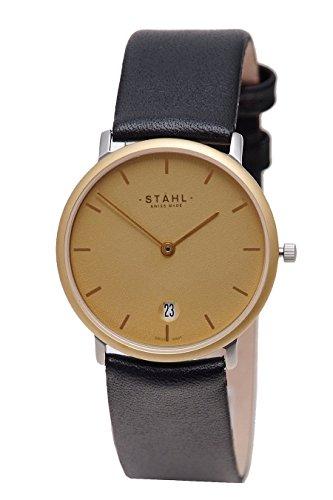 Stahl Swiss Made Armbanduhr Modell st61252 vergoldet Gross 33 mm Fall Bar Gold Zifferblatt