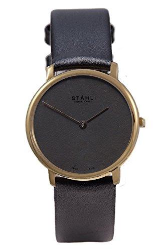 Stahl Swiss Made Armbanduhr Modell st61360 Edelstahl Extra grosse 36 mm Fall Uni silber Zifferblatt