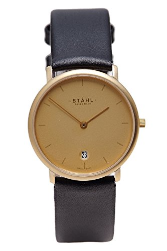 Stahl Swiss Made Armbanduhr Modell st61212 vergoldet klein 27 mm Fall Bar Gold Zifferblatt