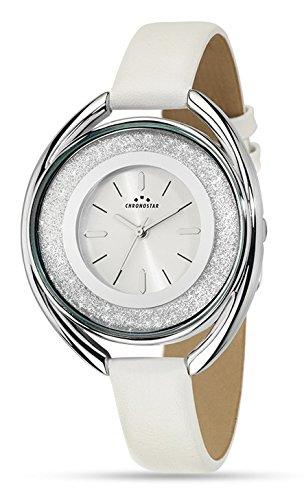Chronostar Uhren Glitter Kristalle aus weissem Leder R3751259501