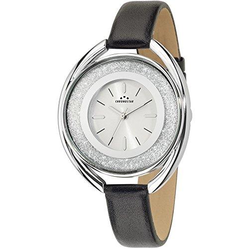 Chronostar Uhren Glitter Schwarz Leder R3751259502 Kristalle