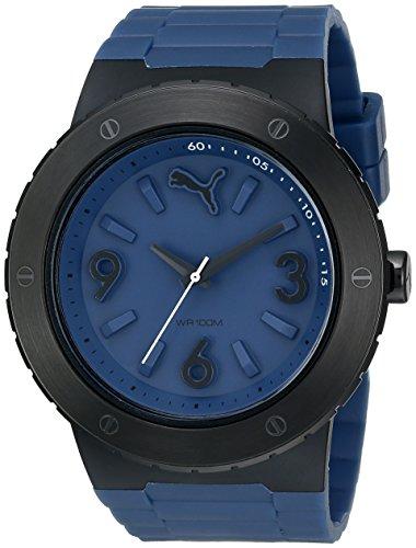 Puma Blast Herren Armbanduhr 50mm Armband Kautschuk Blau Gehaeuse Plastik Quarz Analog PU103331003
