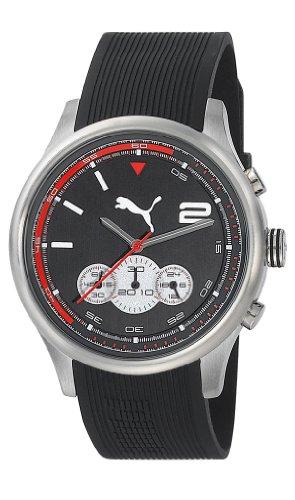 Motorsport Chrono Puma Unisex Quarzuhr mit schwarzem Zifferblatt Chronograph Anzeige und Schwarz PU Strap Analog Kunststoff PU102741002