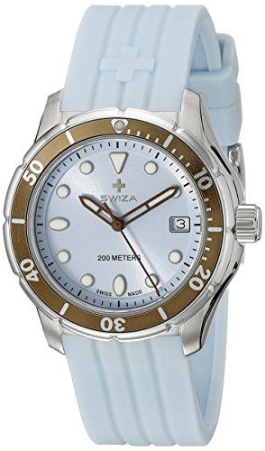 Swiza Uhr Tetis Lady Schweizer Quarzlaufwerk Gehaeuse Edeltstahl Saphirglas hellblaues Silikon Armband
