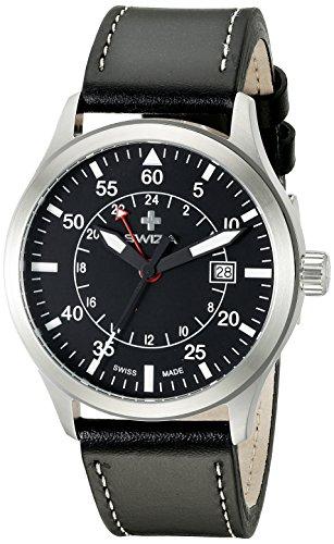 Swiza Uhr Siriuz GMT schwarzes Zifferblatt Super LumiNova Beschichtung 2 Zeitzone schwarzes Lederamband weisse Naht