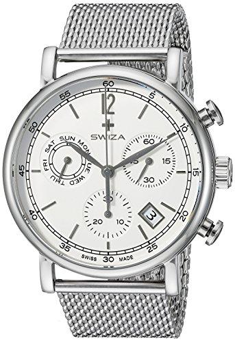 Swiza Uhr Alzy Chrono Schweizer Qualitaets Quarzlaufwerk Chronograph Gehaeuse Edelstahl Edelstahl Mesh Armband