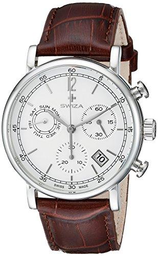 Swiza Uhr Alza Chrono Schweizer Quarzlaufwerk Chronograph Edelstahlgehaeuse braunes Lederarmband