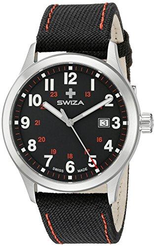 Swiza Uhr Kretos Gent Schweizer Quarzlaufwerk Edelstahlgehaeuse 316L gebuerstet poliert Stoff Armband