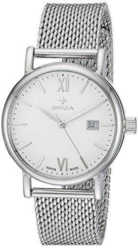 Swiza Uhr Alza Lady Schweizer Quarzlaufwerk Edelstahlgehaeuse 316L Mineralglas Edelstahl Mesh Armband