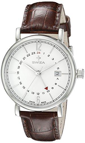 Swiza Uhr Alza GMT Schweizer Quarzlaufwerk Edelstahlgehaeuse 316L zweite Zeitzone braunes Band