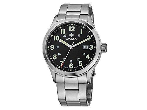 SWIZA Uhr Kretos Gent schwarzes Ziffernblatt Edelstahl Armband