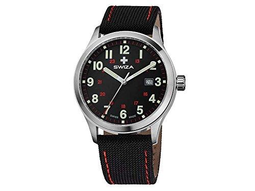 SWIZA Uhr Kretos Gent schwarzes Ziffernblatt Stoff Armband
