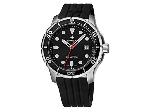 SWIZA Uhr Tetis Gent schwarz silberfarbiges Ziffernblatt schwarzes Silikon Armband