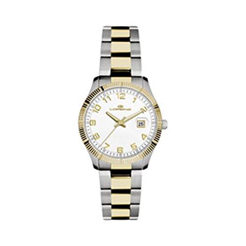 Uhr Lorenz Damen 027067 AA Quarz Batterie Stahl vergoldet gelb Quandrante weiss Armband Stahl