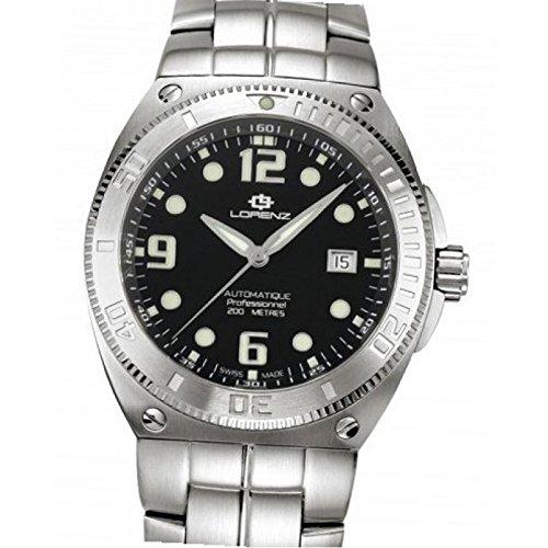 Uhr Lorenz Aquitania 024862 AA Quarz Batterie Stahl Quandrante weiss Armband Leder