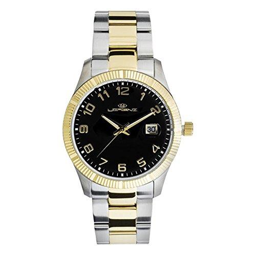 Armbanduhr Lorenz Herren Date Just Stahl IP gold black Dial Data mit Objektiv magnificatrice 026979bb