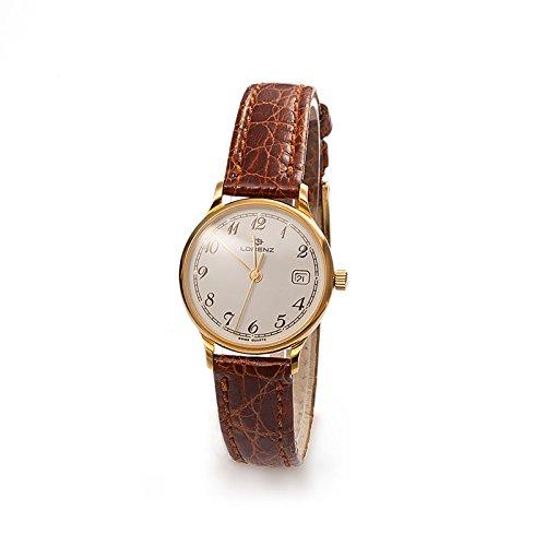 Uhr Lorenz Klassik 017637 dem Quarz Batterie Gold Quandrante weiss Armband Leder