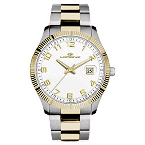 Uhr Lorenz Klassik 027063 AA Quarz Stahl vergoldet gelb Quandrante weiss Armband Stahl