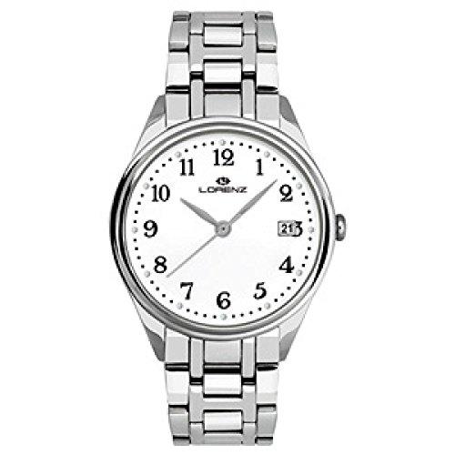 Uhr Lorenz Herren 027161 AA Quarz Batterie Stahl Quandrante weiss Armband Stahl