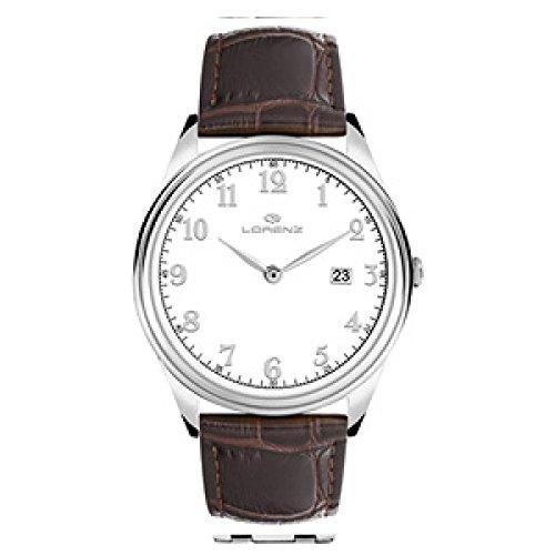 Uhr Lorenz Herren 027180 AA Quarz Batterie Stahl Quandrante weiss Armband Leder