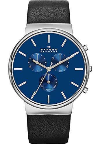 Skagen SKW6105 ANCHER Chronograph Uhr Herrenuhr Lederarmband Edelstahl 30m Analog Chrono Datum schwarz blau