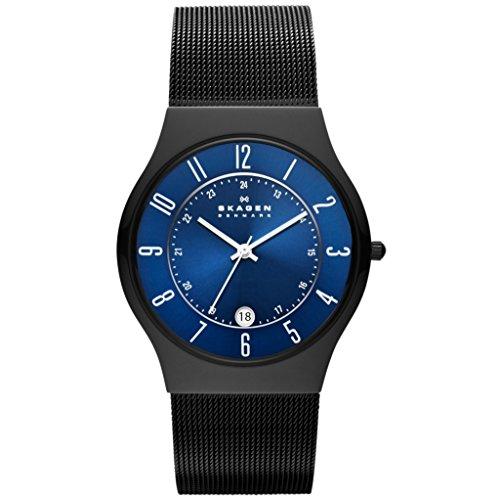 Skagen T233XLTMN GRENEN Uhr Edelstahl 30m Analog Datum schwarz blau