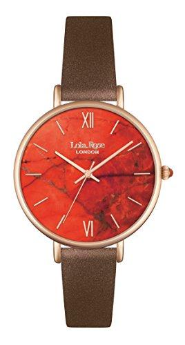 Lola Rose Damen Quarzuhr mit Orange Zifferblatt Analog Anzeige und braunem Lederband lr2018