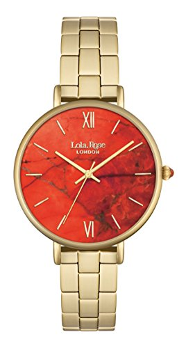 Lola Rose Damen Quarzuhr mit Orange Zifferblatt Analog Anzeige und Gold Legierung Armband lr4000