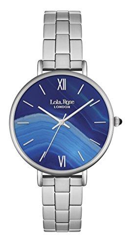 Lola Rose Damen Quarzuhr mit Blau Zifferblatt Analog Anzeige und Silber Legierung Armband lr4001