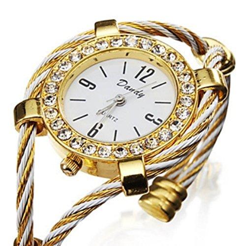 Damen Kristall Armbanduhr in gold