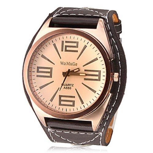 Quarz Armbanduhr mit braunem Armband unisex