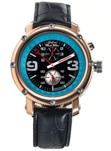 Herren Armbanduhr Automatische mechanische Uhr Schwarz Leder Rosegold Luenette Graf von Monte Wehro AA101558G