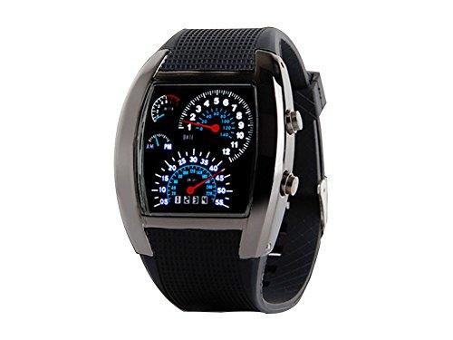 Cool Blue LED Flash RPM Turbo m Dial Armbanduhr Watch Armbanduhr fuer Herren schwarz