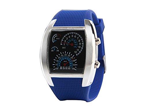 Cool blue LED Flash RPM Turbo m Dial Armbanduhr Watch Armbanduhr fuer Herren dark blue