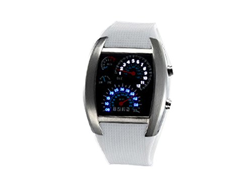 Cool Blue LED Flash RPM Turbo m Dial Armbanduhr Watch Armbanduhr fuer Herren weiss