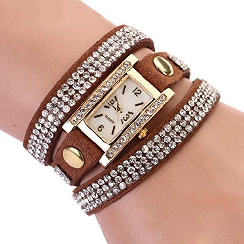Damen Vintage quadratisches Zifferblatt Strass Weave Wrap Multilayer Leder Armband Armbanduhr Kaffee