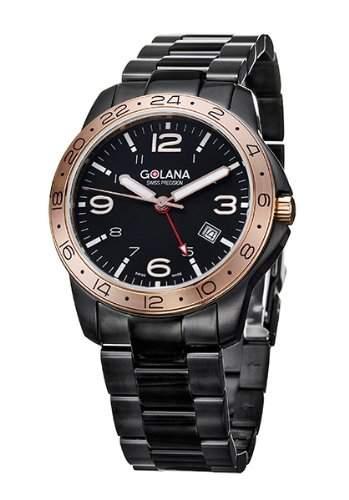 Golana Aero Pro Black Swiss Made Aviators GMT Mens Watch AE320-2