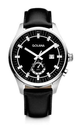 Golana Herren-Armbanduhr XL Terra GMT Analog Leder TE300-4