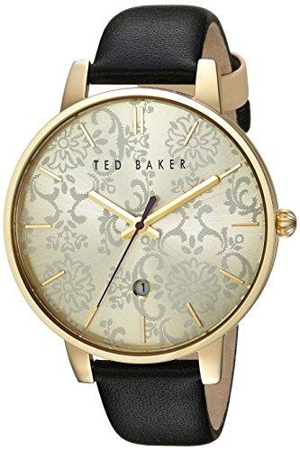 Damen Damen Gold Tone Quarz Akku Ted Baker Fashion Uhr an Lederband mit Datum te10030694