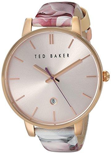 Damen Rose Gold Ton Quarz Akku Ted Baker Fashion Uhr an Lederband mit Datum te10030695