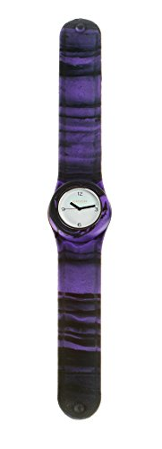 SlapStixx wasserdichte Quarzuhr mit Silikonarmband Slap oder WrapWatch moderne und trendige Uhr lila schwarz Verlauf