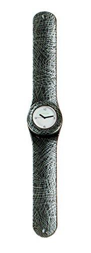 SlapStixx wasserdichte Quarzuhr mit Silikonarmband Slap oder WrapWatch moderne und trendige Uhr Design Striche